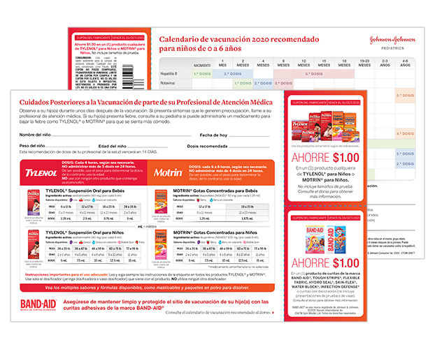 BAND-AID®, TYLENOL®, & MOTRIN® Spanish Immunization Guide Tearpad