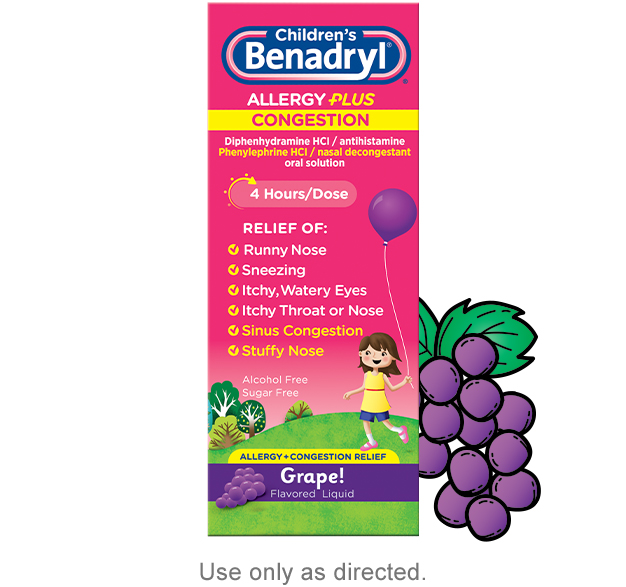 Children's BENADRYL® Allergy Plus Congestion dosing