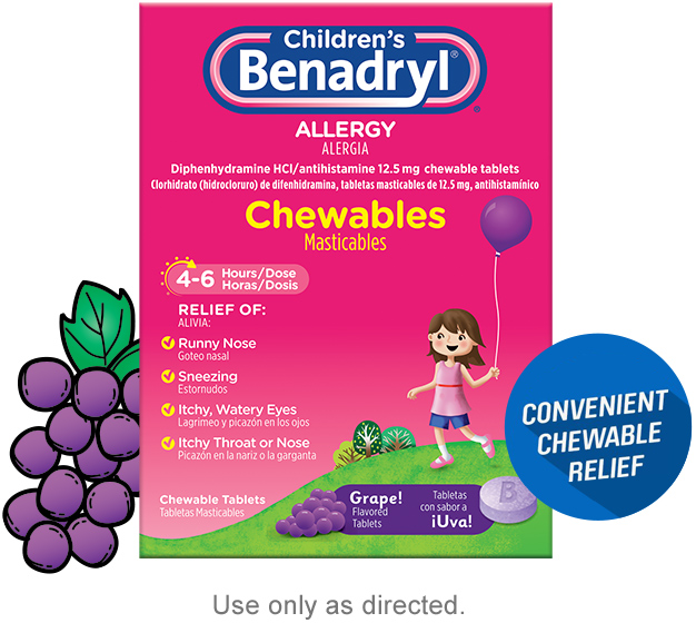 Children's BENADRYL® Chewables dosing